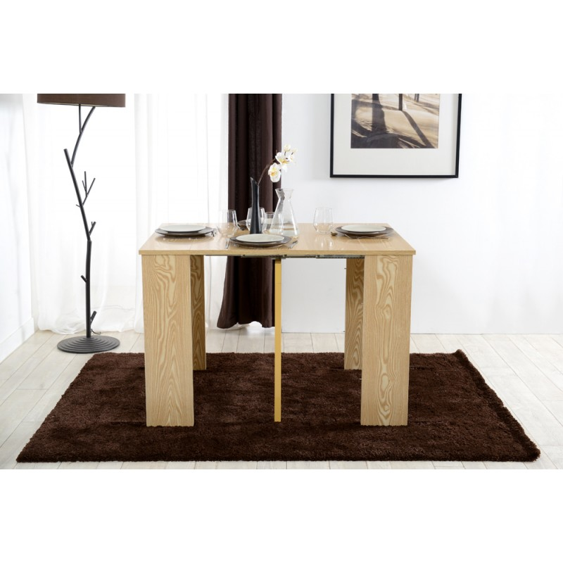 Combi d cor ch ne naturel console extensible troc 3000 for Table console extensible chene