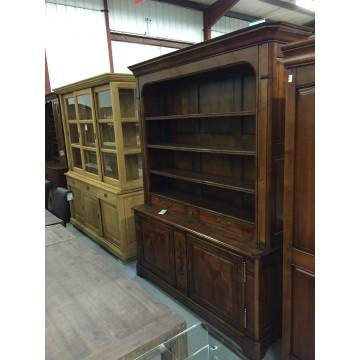 Bibliothèque merisier massif 2 portes 2 tiroirs