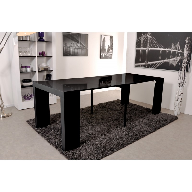 table console extensible noir maison design. Black Bedroom Furniture Sets. Home Design Ideas