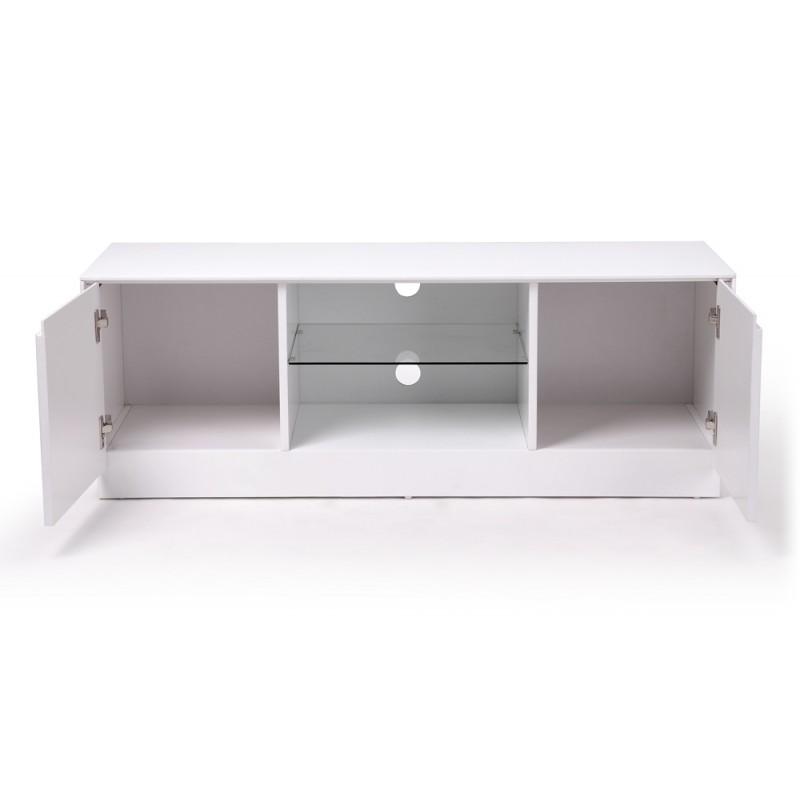 Meuble tv 120 cm blanc conceptions de maison for Meuble tv banc
