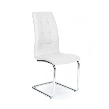 LEAF Chaise pied Chromé PU Blanche