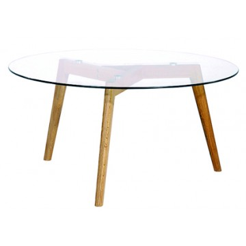 MIXY Table basse ronde plateau verre transparent