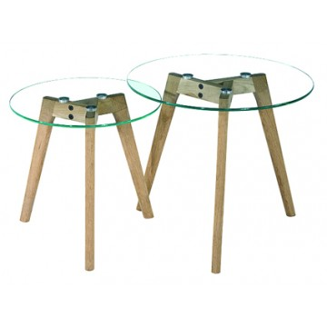 MIXY Tables gigognes plateau verre transparent