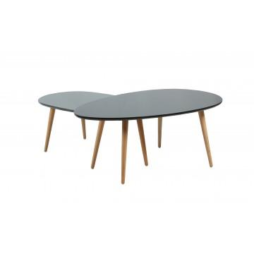 CREW Tables gigognes laquées Noir & Gris brillant pieds naturels