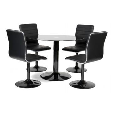 ALLISTER Table + 4 chaises - Noire