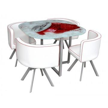 BLUSH Ensemble repas Table plateau sérigraphié et 4 chaises