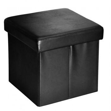 BUGGY noir pouf coffre pliant