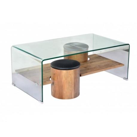 Lea Table Basse Rectangulaire Verre Trempe 2 Poufs Chene Top Pu Noir