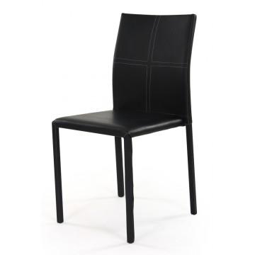 ATIA Chaise empilable revêtement PU Reach Noir sur-piqure grise