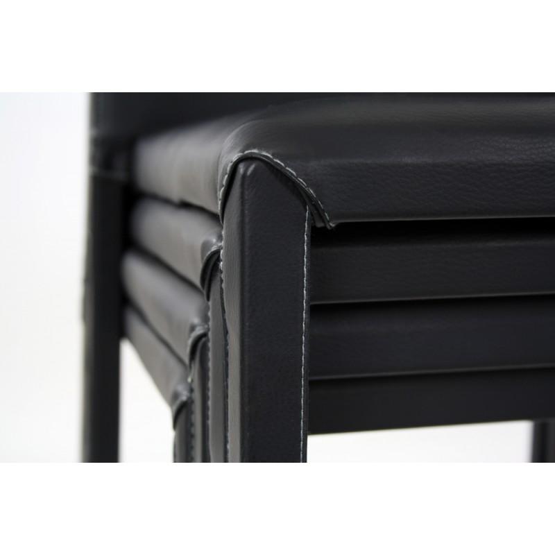 atia chaise empilable rev tement pu reach noir sur piqure grise troc 3000 fr jus. Black Bedroom Furniture Sets. Home Design Ideas