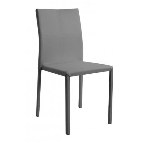 atia chaise empilable revêtement pu reach gris sur-piqure grise