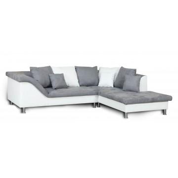 Gisella canapé d'angle blanc et gris - droit