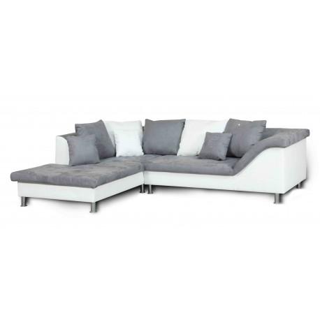 ROZALIA canapé d'angle blanc et gris  - gauche