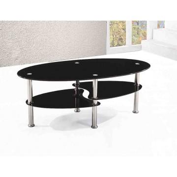 A63N Table basse ovale verre noir