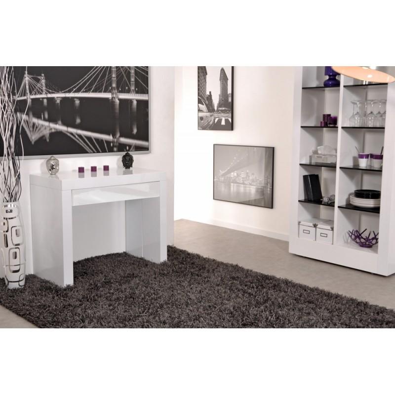 Algo console table avec tiroir blanche 3 allonges troc 3000 fr jus - Console blanc laque avec tiroir ...