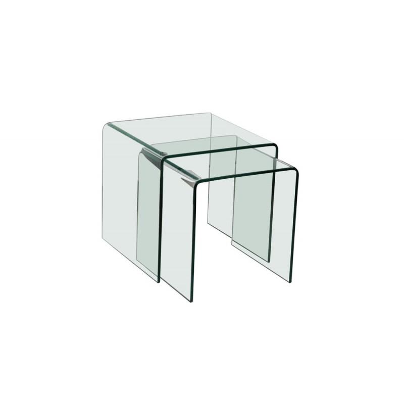 Table basse en verre vera - Table basse gigogne verre ...