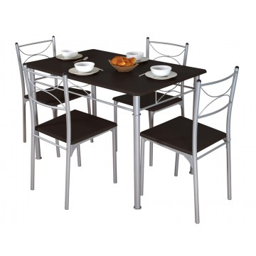 TUTI table + 4 chaises noir - wengue