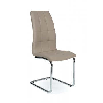 LEAF Chaise pied Chromé PU Taupe
