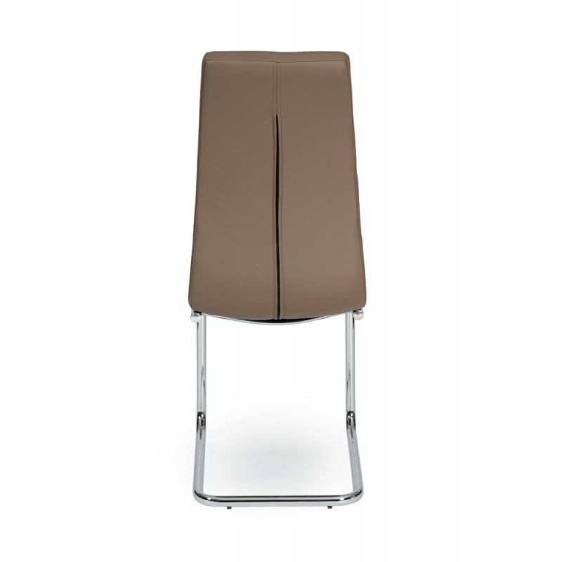 Leaf Chaise Pied Chrome Pu Moka Troc 3000 Frejus
