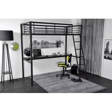GRAFIK Lit mezzanine en 90 métal coloris Anthracite + Bureau Verre New York