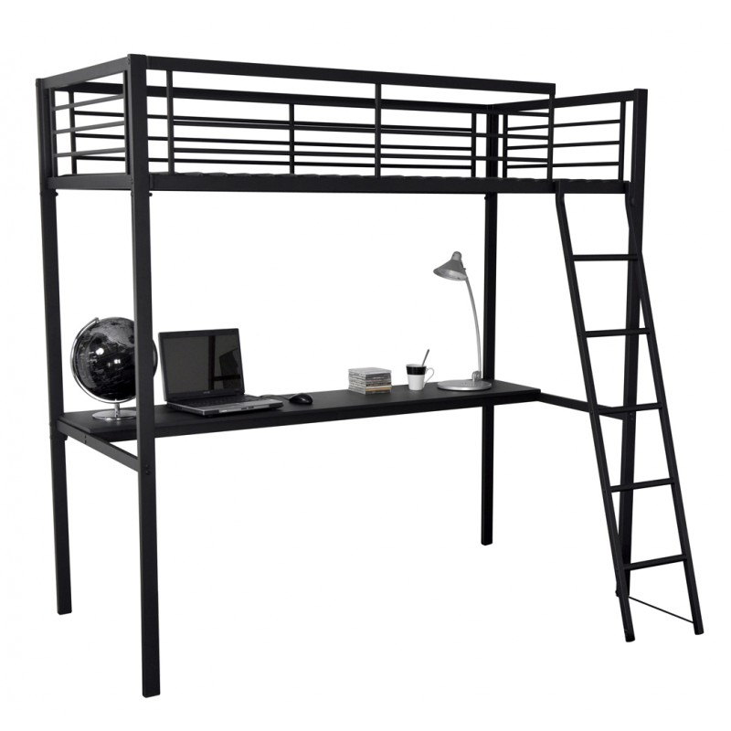 lit mezzanine metal avec bureau maison design. Black Bedroom Furniture Sets. Home Design Ideas