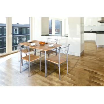 TUTI table + 4 chaises chêne clair