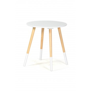 BASIK Table Basse ronde - Blanche/Naturelle
