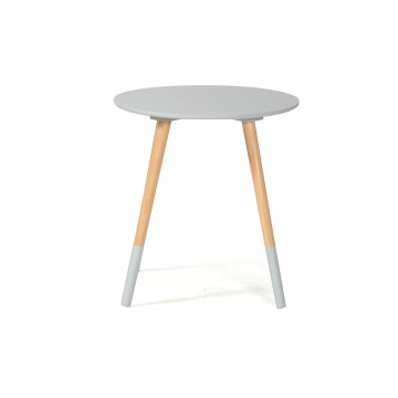 BASIK Table Basse ronde - Grise/Naturelle