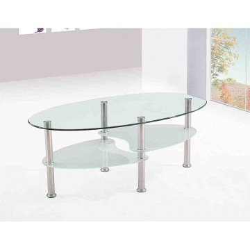 A63T Table basse ovale verre transparent et opaque