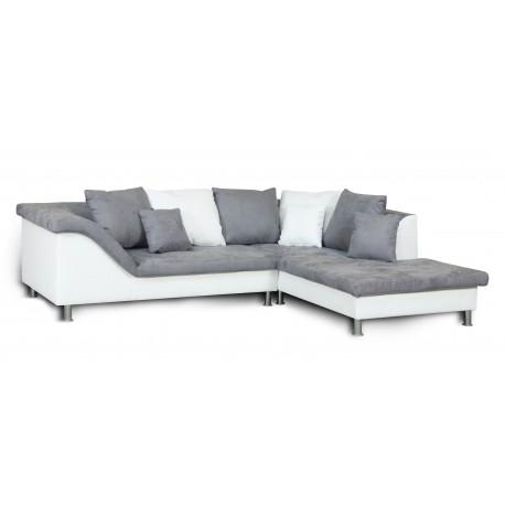 ROZALIA canapé d'angle blanc et gris - droit