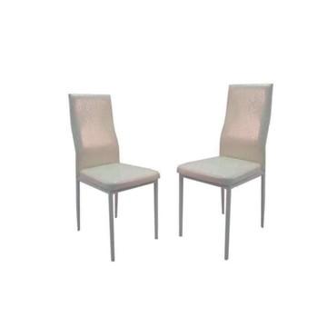 TILIA Chaise PVC Aspect Croco Blanc