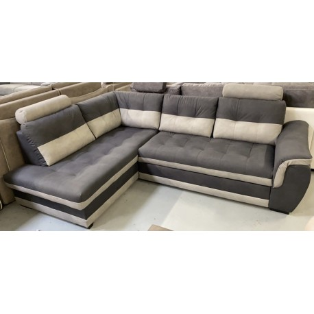 FALCO canapé angle gauche gris bicolore