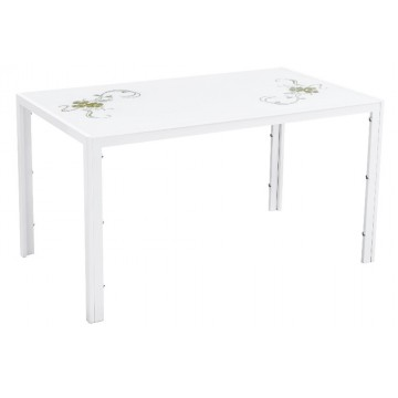 K104 Table verre blanc fleurs