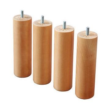 jeu de 4 pieds bois massif 25 cm pour sommier tapissier
